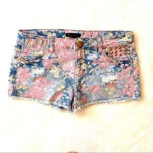 """Floral print denim 2"""" shorts"""